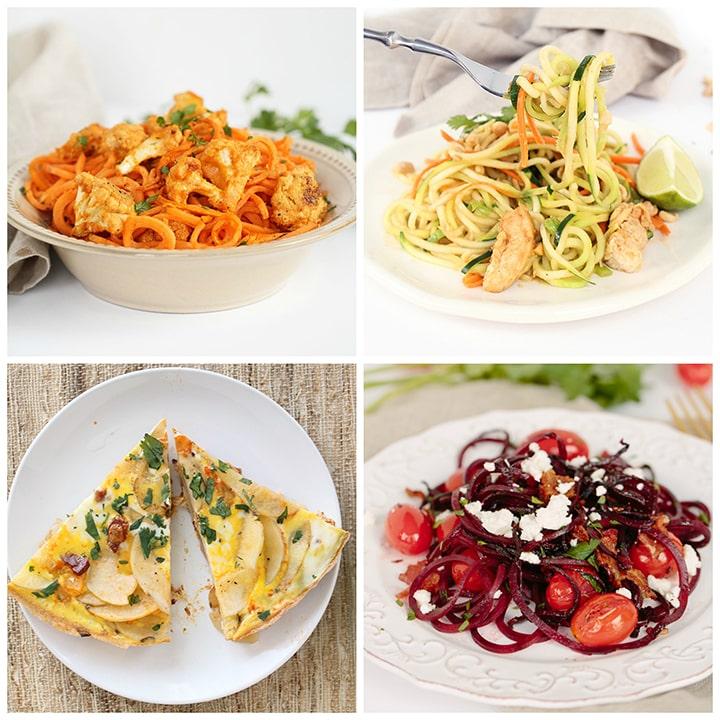 under 300 calorie spiralized recipe roundup