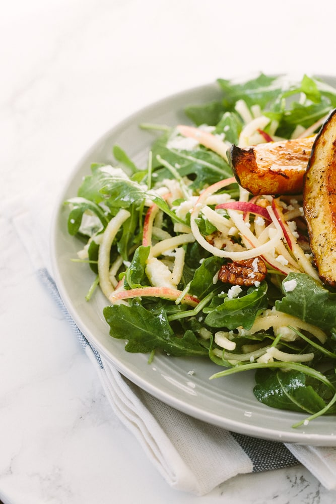 Spiralized Apple and Arugula Salad with Roasted Honey Glazed Acorn Squash