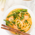 Salmon Red Coconut Curry with Turnip Noodles
