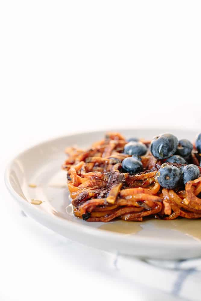 3-Ingredient Dark Chocolate Spiralized Sweet Potato Waffles Recipe