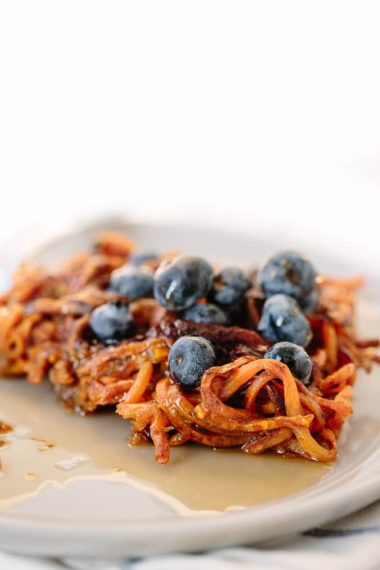 3-Ingredient Dark Chocolate Spiralized Sweet Potato Waffles