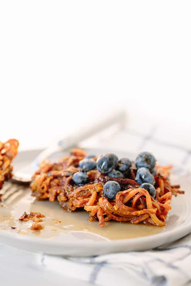 3-Ingredient Dark Chocolate Spiralized Sweet Potato Waffles Recipe