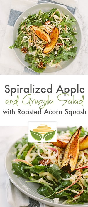 spiralized apple and arugula salad with roasted acorn squash