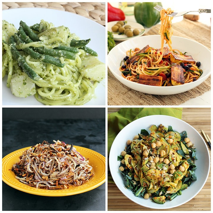spiralized vegan and vegetarian recipe roundup