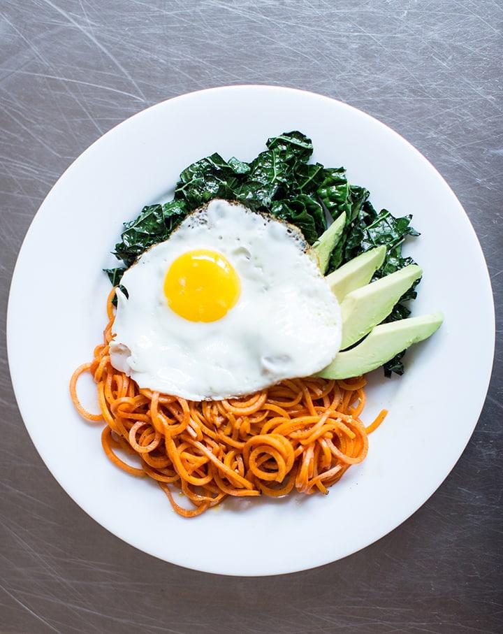 Kale, Avocado, and Sweet Potato Noodle Breakfast Bowl