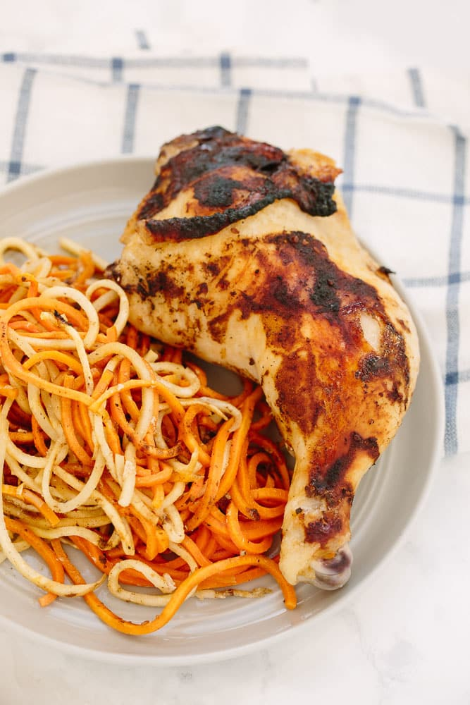 Mom's Chicken over Spiralized Root Vegetables