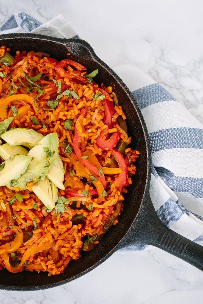 One Pot Vegan Fajitas with Spiralized Sweet Potato Rice