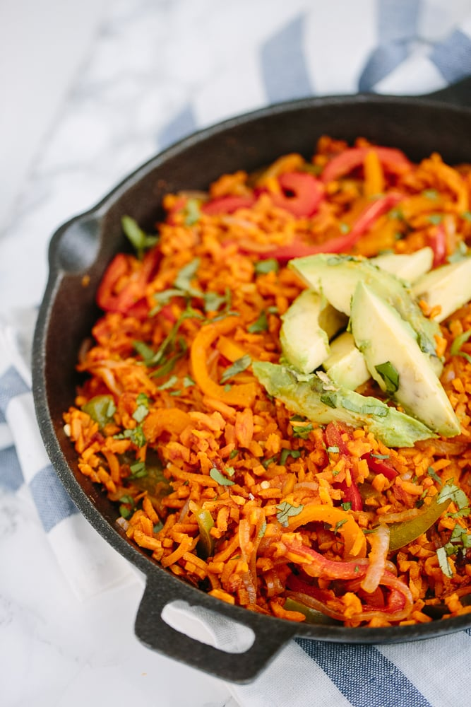 One Pot Vegan Fajitas with Spiralized Sweet Potato Rice