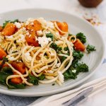 Spiralized Parsnip Noodles with Roasted Butternut Squash, Kale and Feta