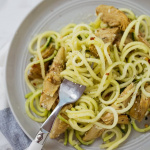 Lemon Zucchini Pasta with Roasted Artichokes
