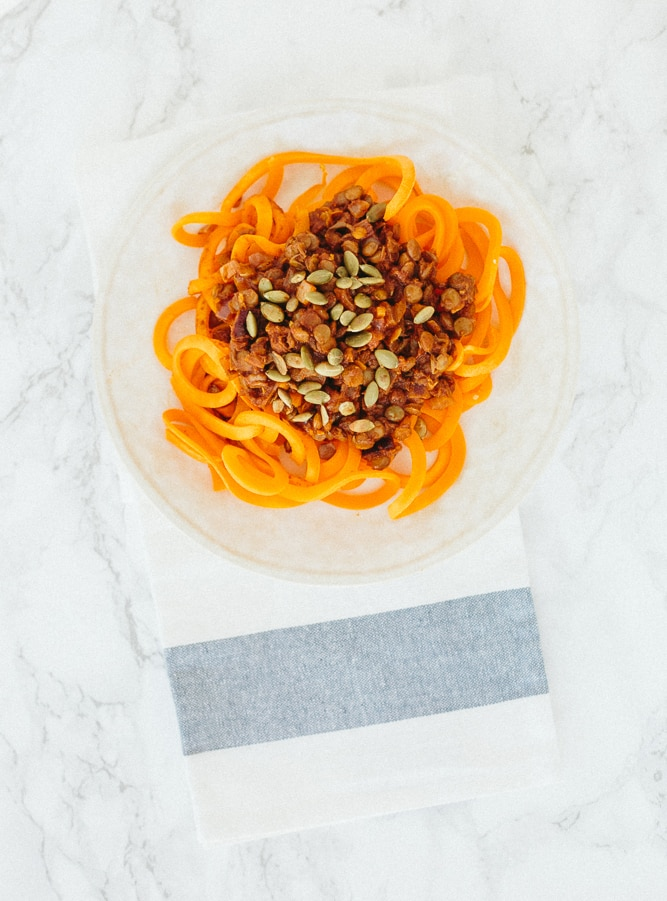 Spiralized Butternut Squash with Curried Lentils and Pumpkin Seeds Recipe