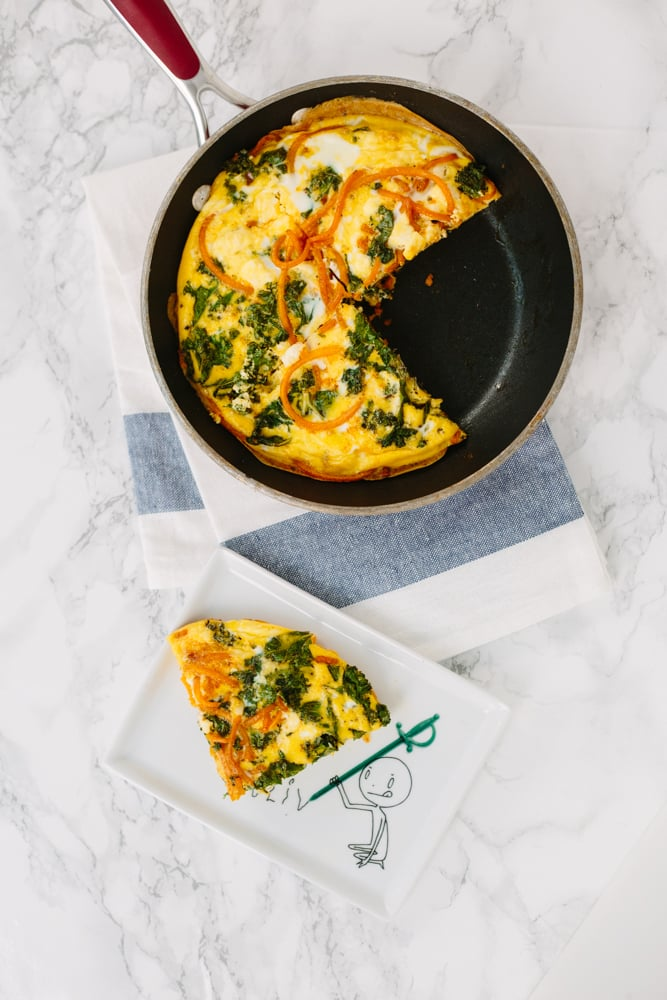 Mini Spiralized Butternut Squash and Feta Frittata