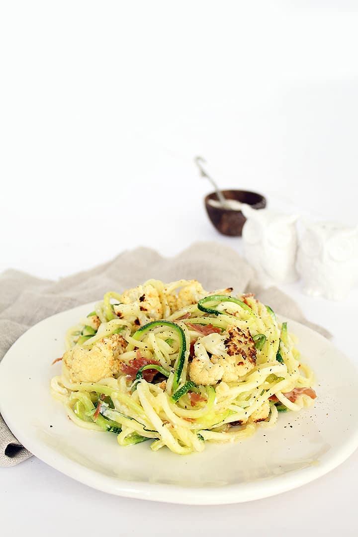 Zucchini Spaghetti with Crispy Prosciutto and Cauliflower