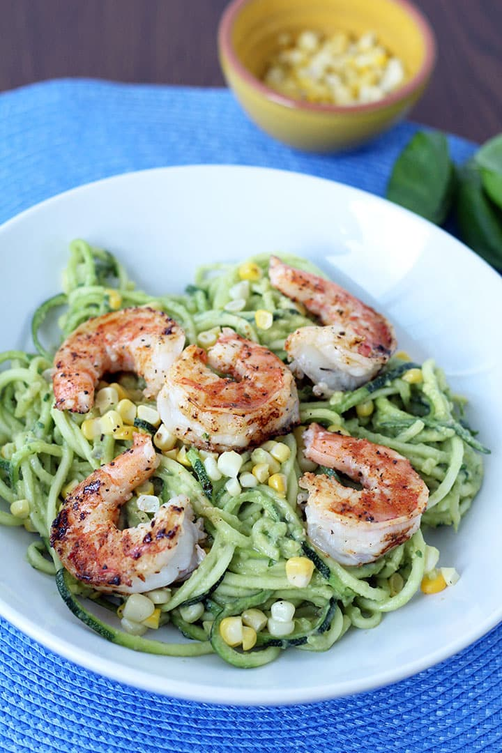 Avocado-Basil Zucchini Noodles with Chile Lime Corn