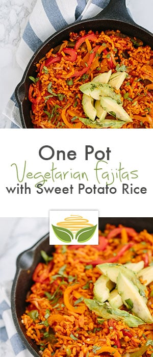 one pot vegetarian fajitas with sweet potato rice