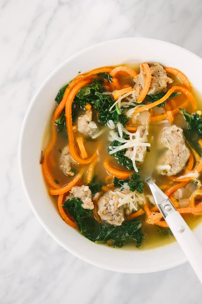 Spicy Sausage and Kale Soup with Carrot Noodles