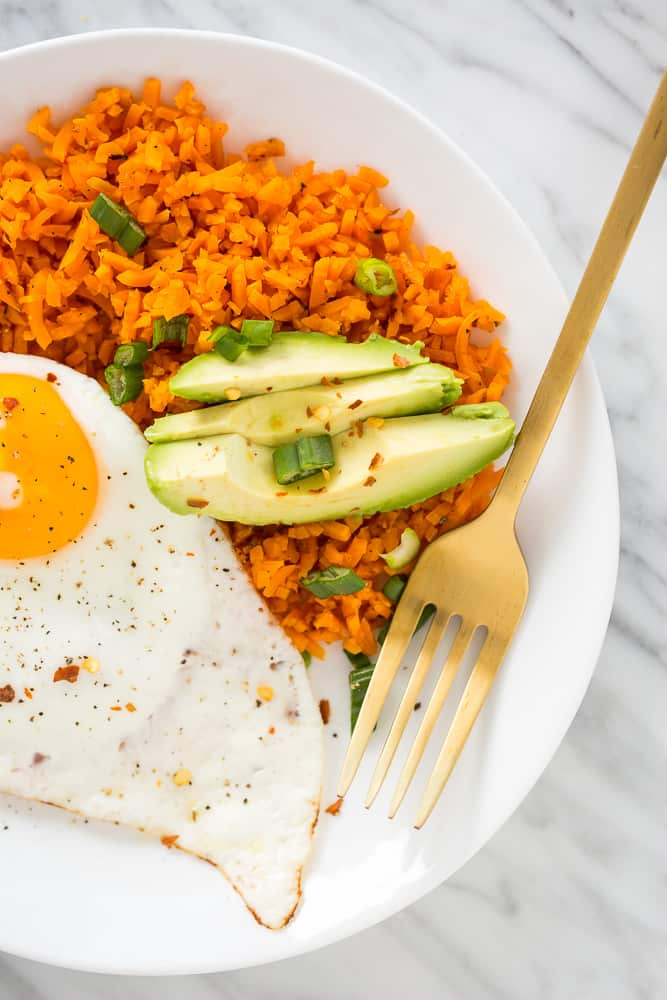 Spiralized Sweet Potato Breakfast Bowl with Avocado and Scallions