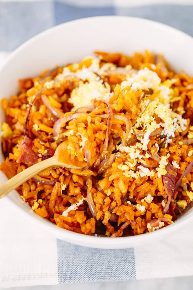 Butternut Squash Rice with Bacon, Caramelized Onions, and Grated Egg