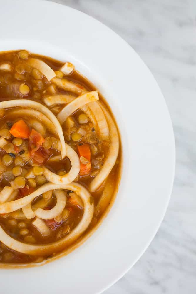 Lentil Soup with Spiralized Turnips