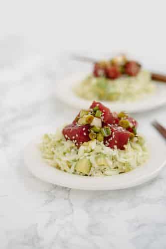 Poke Bowls with Kohlrabi Rice