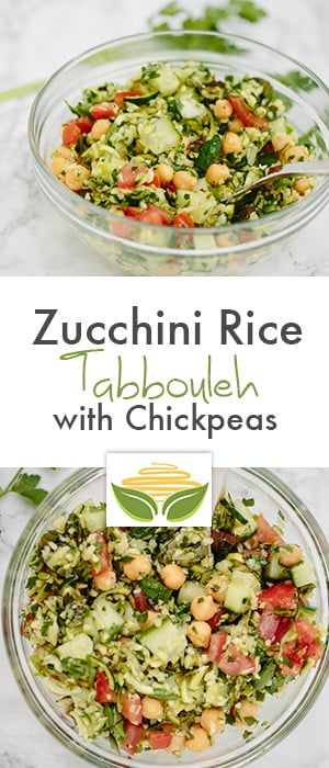 Zucchini Rice Tabbouleh with Chickpeas