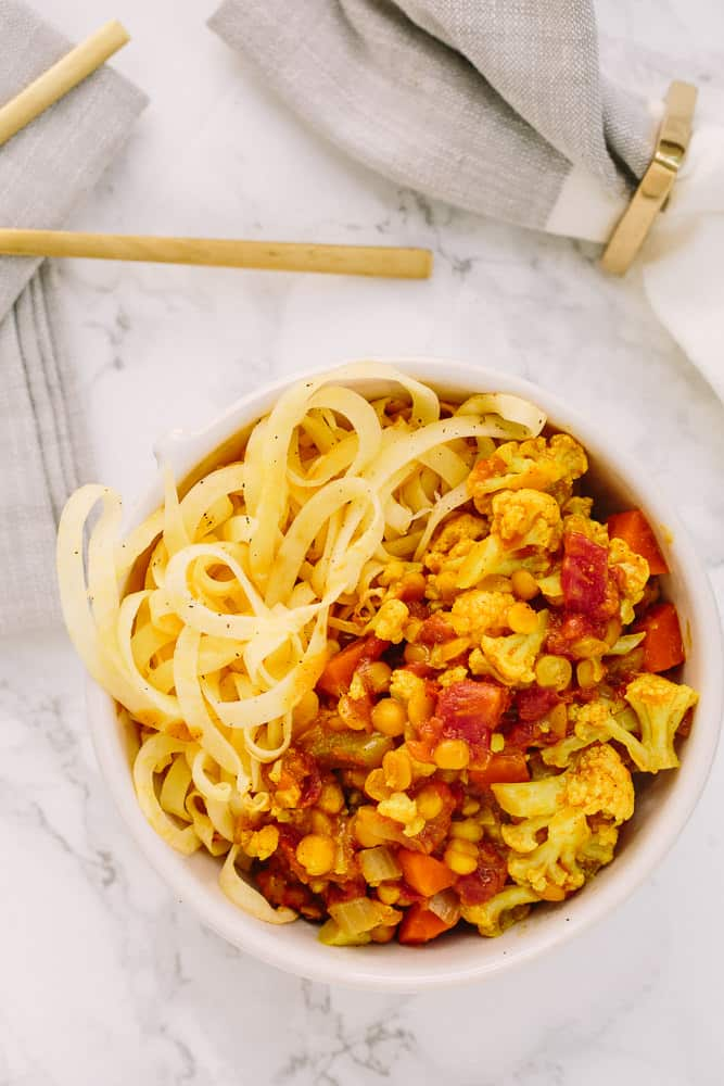 Split Pea and Cauliflower Curry with Roasted Rutabaga Noodles