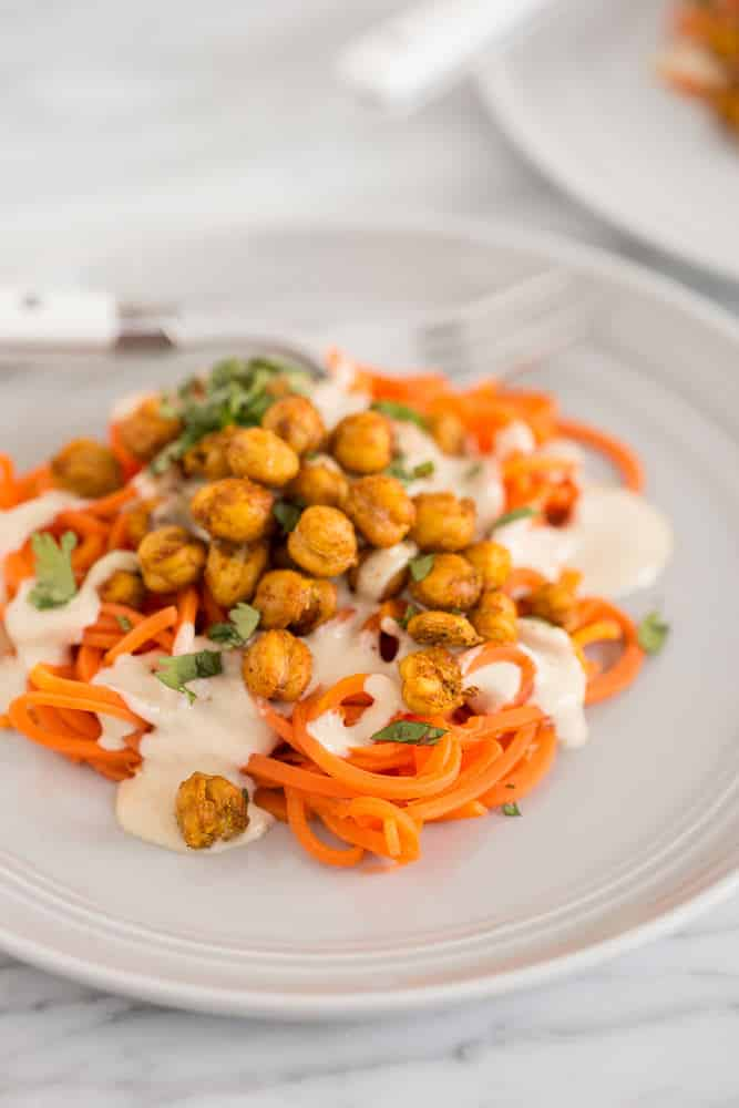 Carrot Noodles with Tandoori Spiced Chickpeas and Tahini Drizzle