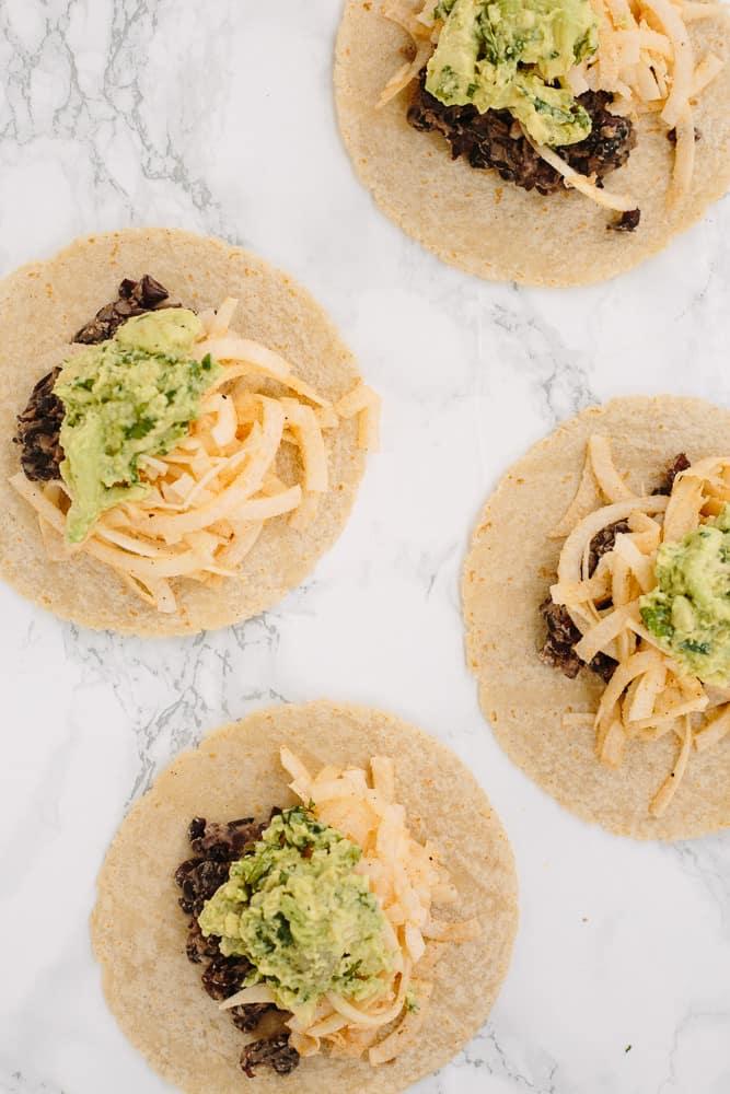 Black Bean Tacos with Spiralized Jicama and Avocado Mash