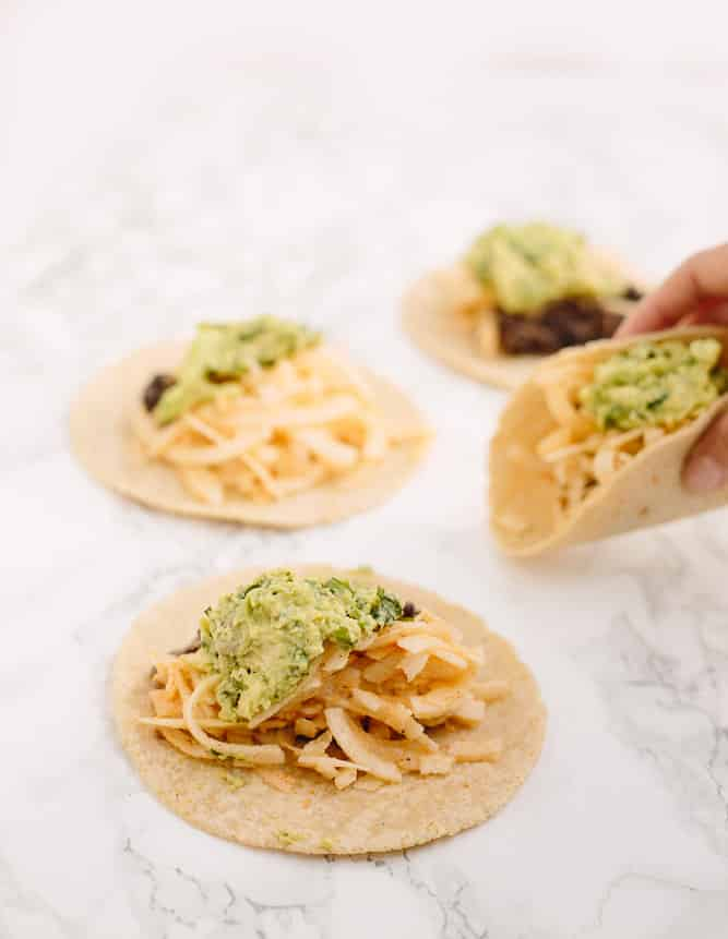 Black Bean Tacos with Spiralized Jicama and Avocado Mash