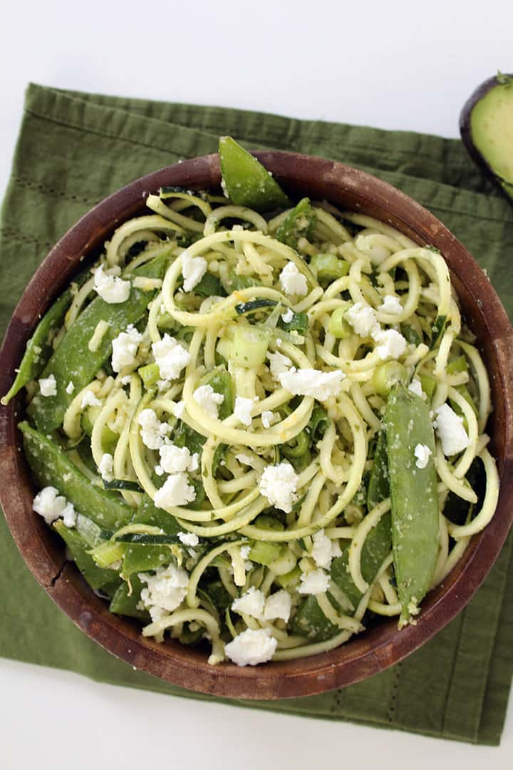 Mint Pesto Zucchini Pasta with Goat Cheese