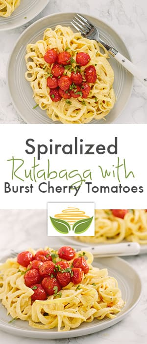 Creamy Spiralized Rutabaga with Burst Cherry Tomatoes