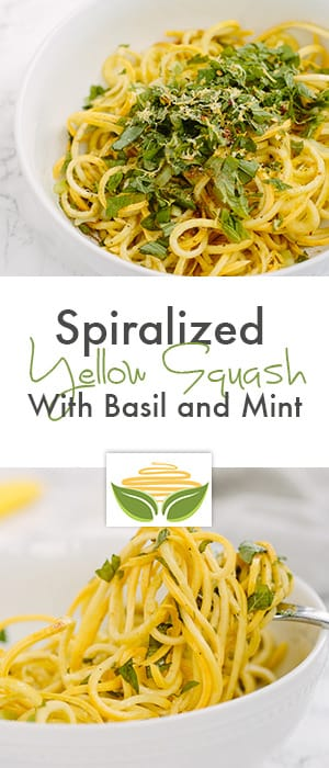 Spiralized Yellow Squash with Basil and Mint