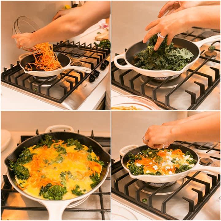 Spiralized Sweet Potato, Kale and Goat Cheese Frittata Recipe with Lemon-Arugula Salad