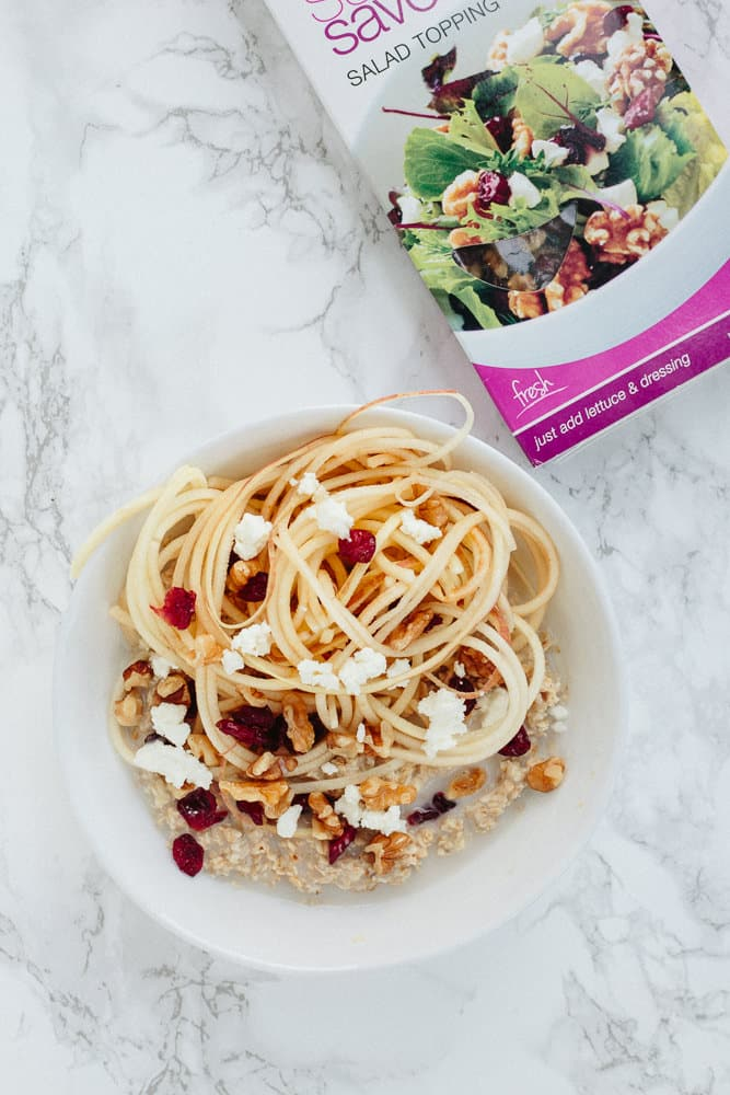 Savory Oatmeal with Spiralized Pears with DeLallo SaladSavors®