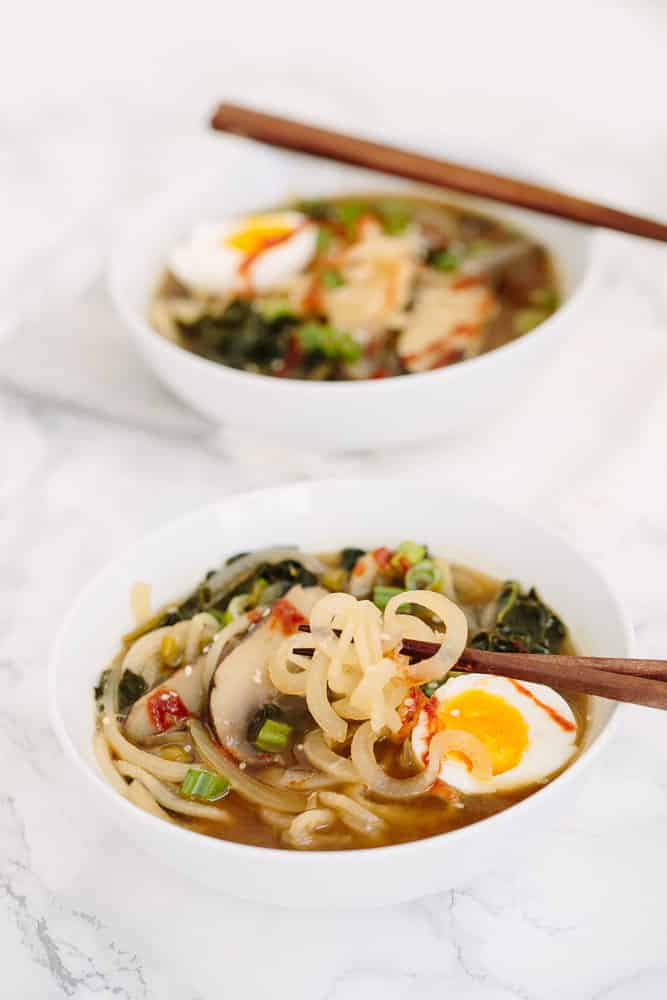 Spiralized Daikon Ramen with Portobello Mushrooms and Soft Boiled Egg