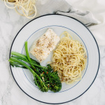 Roasted Cod with White Sweet Potato Noodles and Garlic Broccolini