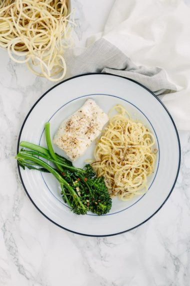 Roasted Lemon Cod with White Sweet Potato Noodles and Garlic Broccolini