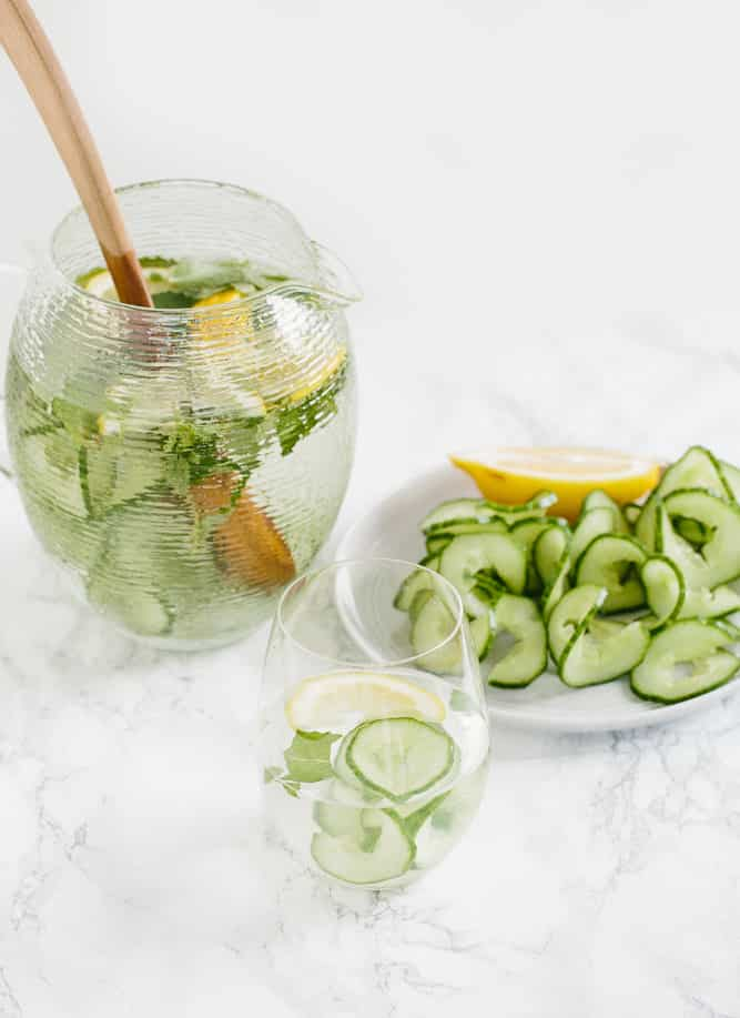Spiralized Cucumber Spa Water with Mint and Lemon
