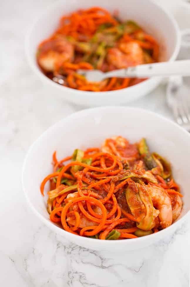 Spiralized Carrot Spaghetti with Shrimp and Shaved Asparagus