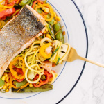 Seared Salmon with Spiralized Zucchini, Snap Pea and Corn Slaw