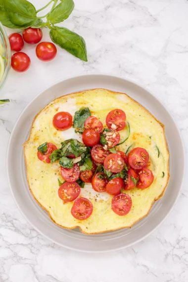 Open-Faced Summer Bruschetta Omelet with Spiralized Zucchini