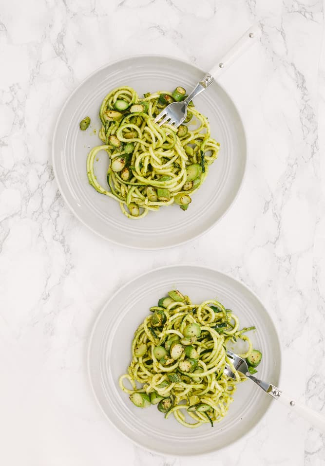 Vegan Pesto Zucchini Noodles with Asparagus