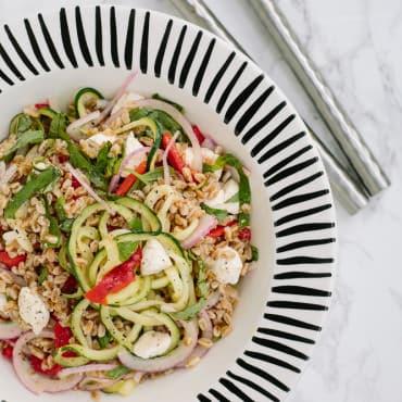 Summer Farro Salad with Mozzarella and Spiralized Zucchini