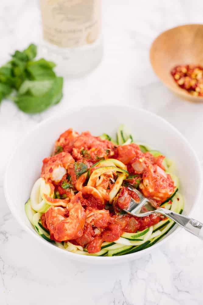 Zucchini Noodles and Shrimp with Spicy Vodka Sauce