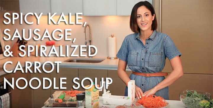 #EverydayInspiralized: Spicy Kale, Sausage and Spiralized Carrot Noodle Soup