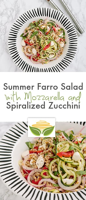 Summer Farro Salad with Mozzarella and Spiralized Zucchini