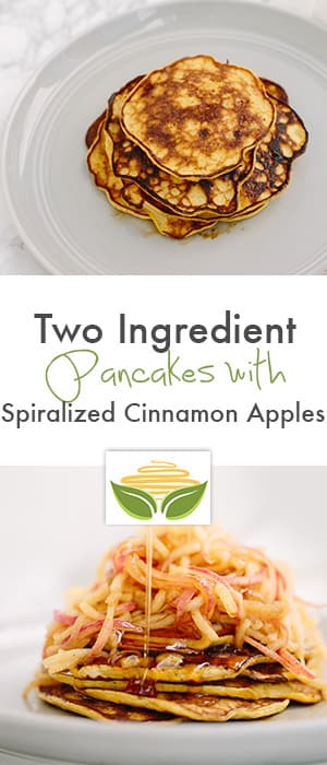 two ingredient pancakes with spiralized cinnamon apples