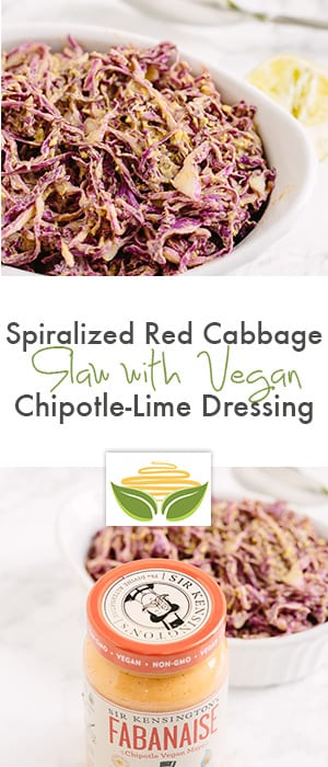 Spiralized Red Cabbage Slaw with Vegan Chipotle-Lime Dressing