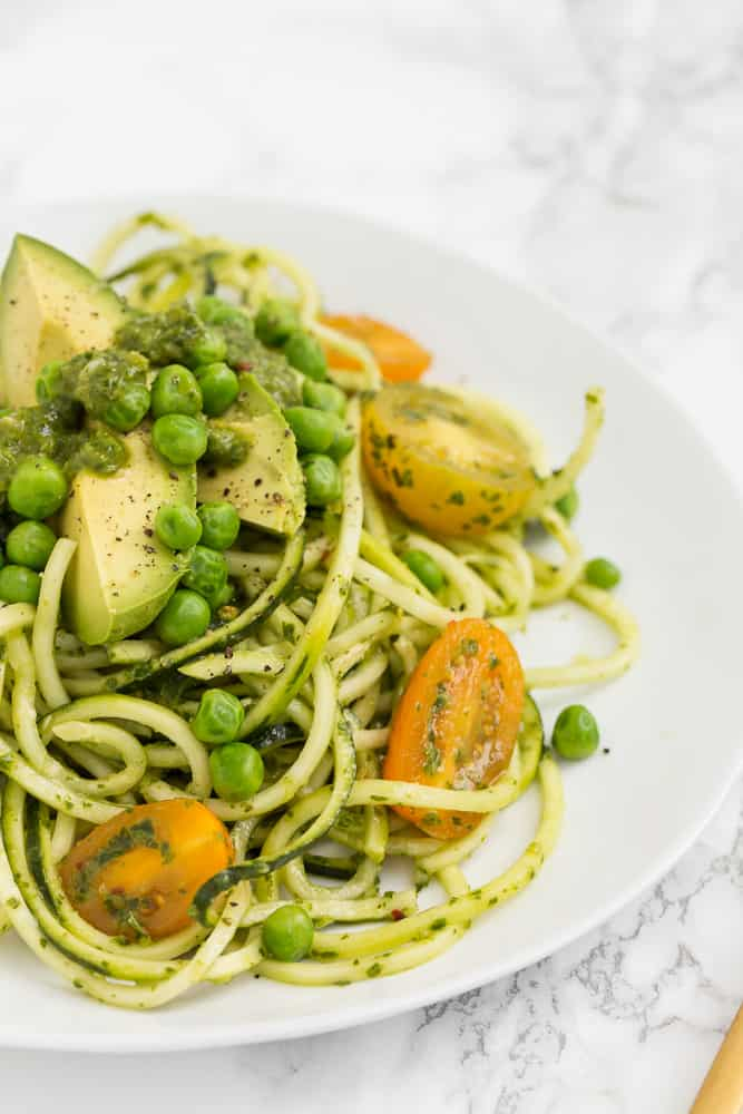 Avocado and Tomato Pea Salad with Zucchini Noodles and Basil Vinaigrette