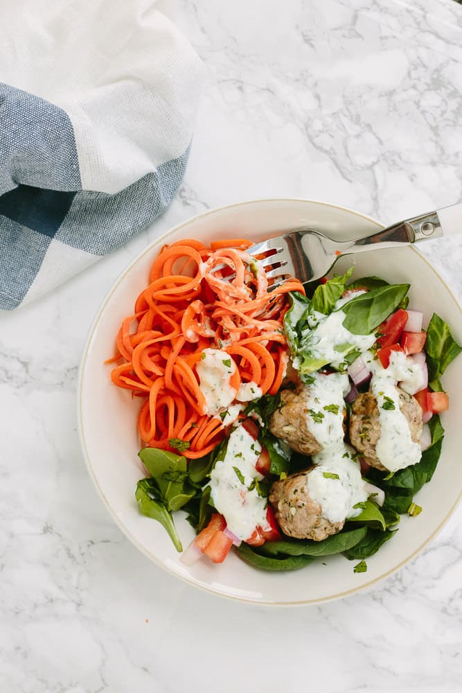 Deconstructed Greek Meatball Gyro Bowls with Spiralized Carrots